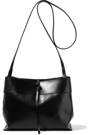 KARA Tie glossed-leather shoulder bag
