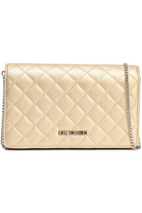LOVE MOSCHINO Quilted metallic faux leather shoulder bag