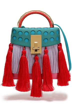 THE VOLON Tasseled fringed laser-cut color-block leather shoulder bag