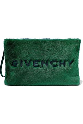 GIVENCHY GV3 large embroidered two-tone faux fur pouch