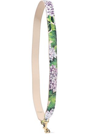 DOLCE & GABBANA Floral-print textured-leather bag strap