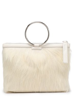 KARA Textured-leather and calf hair clutch