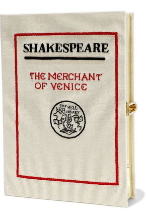 OLYMPIA LE-TAN The Merchant of Venice appliquéd canvas clutch