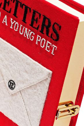 OLYMPIA LE-TAN Letters to a Young Poet appliquéd canvas clutch