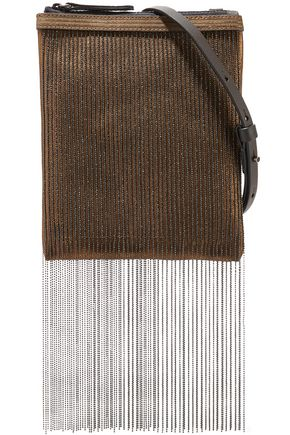 BRUNELLO CUCINELLI Beaded metallic leather shoulder bag
