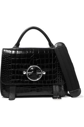 J.W.ANDERSON Disc large lace-up croc-effect leather shoulder bag