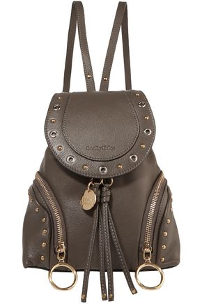 Embellished Textured Leather Backpack by See By ChloÉ