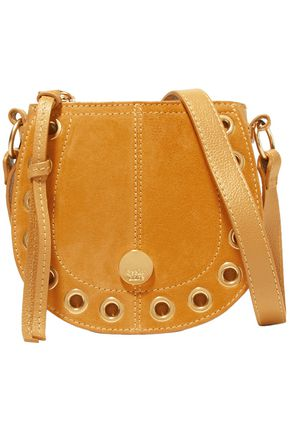SEE BY CHLOÉ Kriss mini embellished suede-paneled pebbled-leather shoulder bag