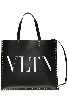 VALENTINO GARAVANI Studded printed leather tote