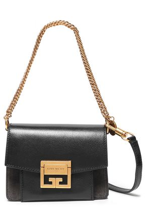 GIVENCHY Mini GV3 suede and textured-leather shoulder bag