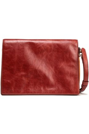 DIANE VON FURSTENBERG Two-tone textured-leather shoulder bag