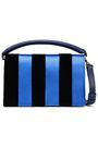 DIANE VON FURSTENBERG Striped satin, velvet and leather shoulder bag