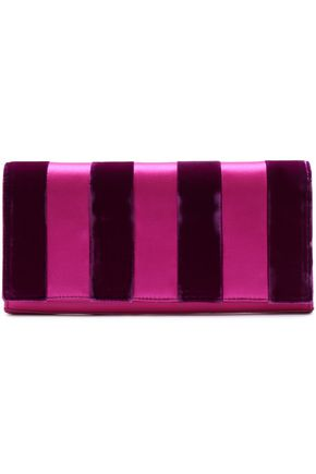 DIANE VON FURSTENBERG Paneled satin, velvet and leather clutch