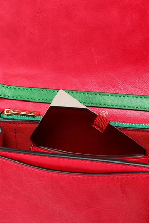 DIANE VON FURSTENBERG Color-block leather shoulder bag