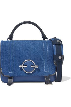 J.W.ANDERSON Disc large lace-up denim and leather shoulder bag
