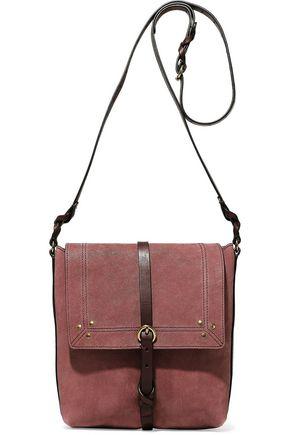 JÉRÔME DREYFUSS Studded leather-trimmed nubuck shoulder bag