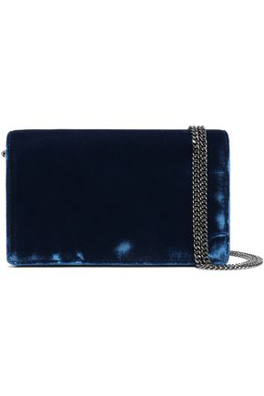 DIANE VON FURSTENBERG Studded two-tone velvet shoulder bag
