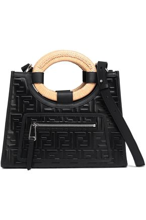 FENDI Raffia-trimmed embossed leather shoulder bag