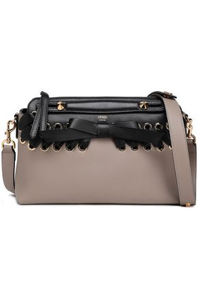 FENDI Bow-embellished two-tone leather shoulder bag