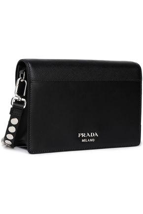 PRADA Racing Elektra studded printed textured-leather shoulder bag