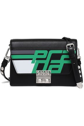 PRADA Racing Elektra studded printed textured-leather shoulder bag