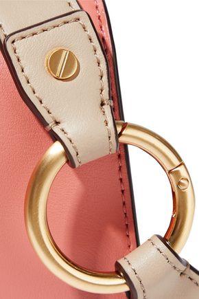 DONNA KARAN Adan studded color-block leather shoulder bag