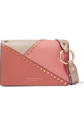 DONNA KARAN Adan studded color-block leather shoulder bag
