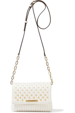 DONNA KARAN Studded quilted leather shoulder bag