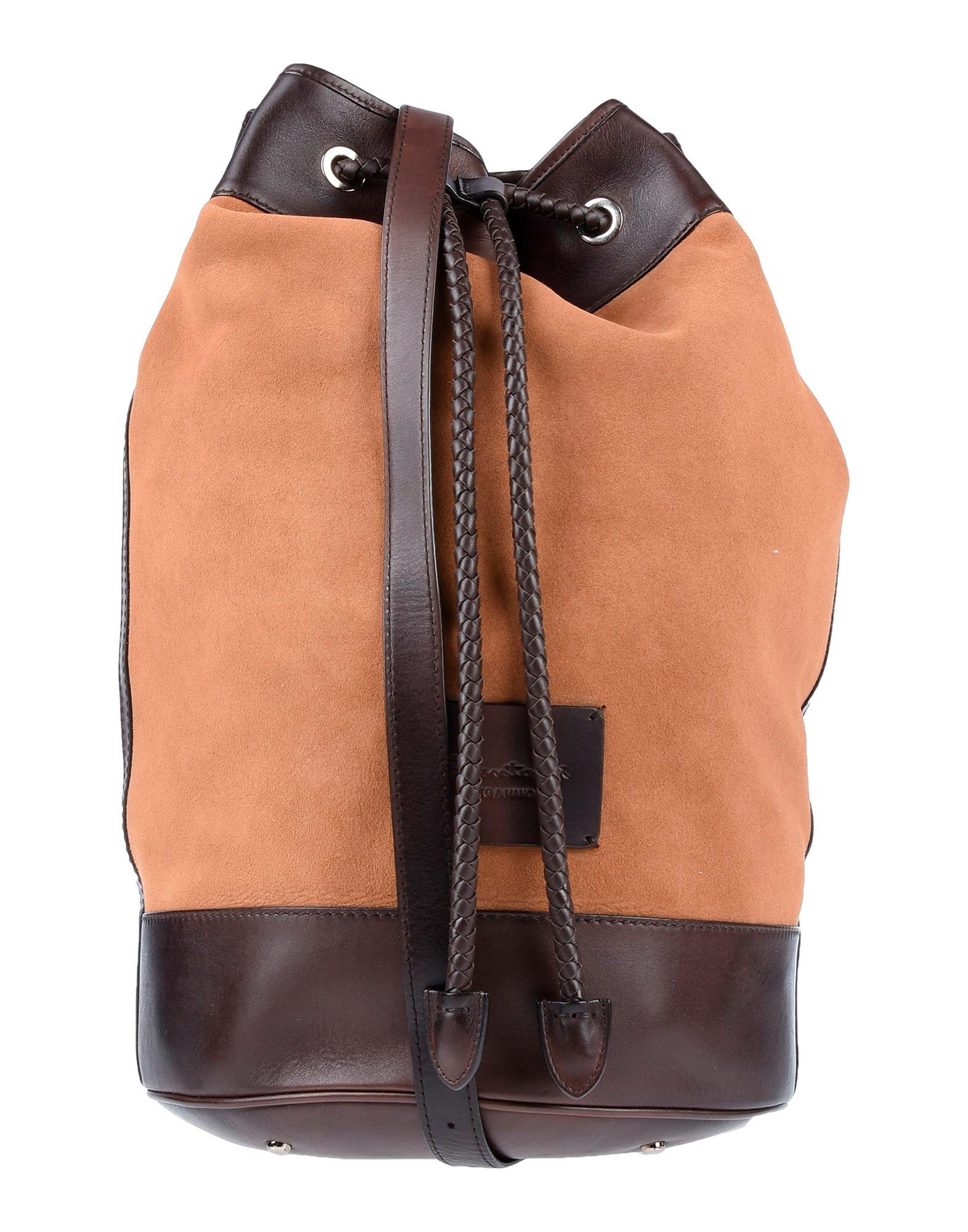 《期間限定セール開催中!》SANTONI メンズ 肩掛けバッグ キャメル 革