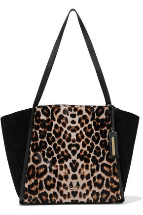 DONNA KARAN Alan leopard-print calf hair, suede and textured-leather tote