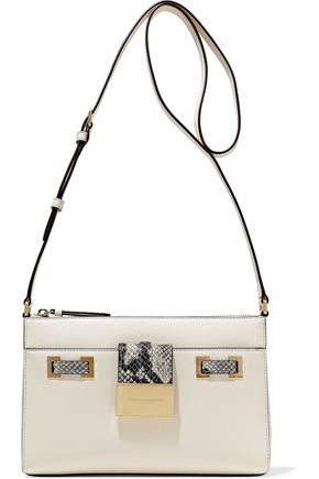 DONNA KARAN Kami snake-effect and pebbled-leather shoulder bag