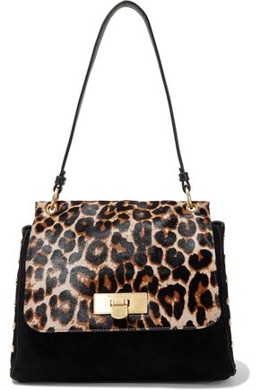 DONNA KARAN Baylee leopard-print calf hair-paneled suede shoulder bag