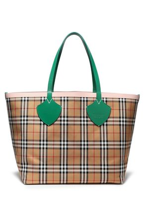 BURBERRY Leather-trimmed cotton-jacquard tote