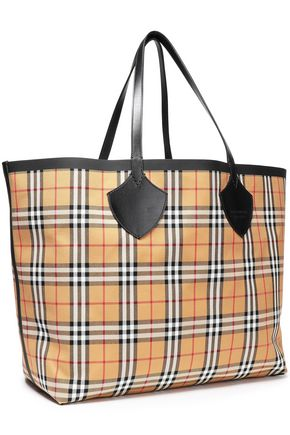 BURBERRY Leather-trimmed jacquard weekend bag