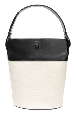 BURBERRY Leather and cotton-canvas paneled bucket bag