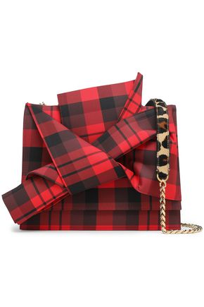 N°21 Knotted leopard-print calf hair and checked twill shoulder bag
