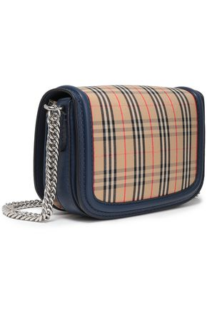BURBERRY Embellished leather-trimmed checked canvas shoulder bag