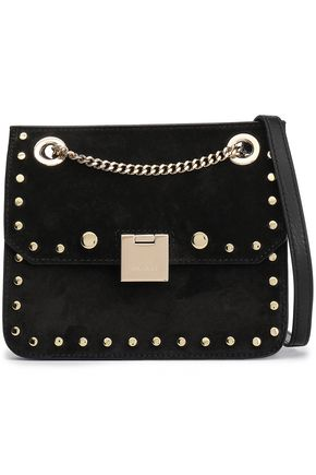 JIMMY CHOO Studded suede shoulder bag