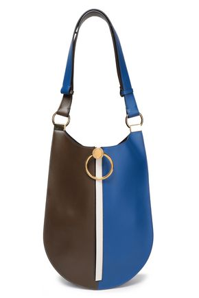 MARNI Earring medium zip-detailed color-block leather shoulder bag