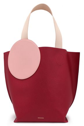 ROKSANDA Color-block appliquéd pebbled-leather tote