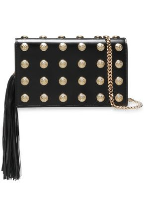 BALMAIN Tasseled button-embellished leather clutch