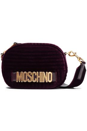 MOSCHINO Embellished quilted velvet shoulder bag