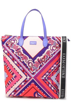 EMILIO PUCCI Leather-trimmed printed shell tote