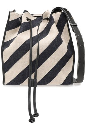 J.W.ANDERSON Leather-trimmed striped canvas shoulder bag