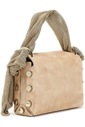 JIMMY CHOO Chainmail-trimmed suede tote