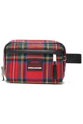 MARC JACOBS Leather-trimmed checked wool-flannel belt bag