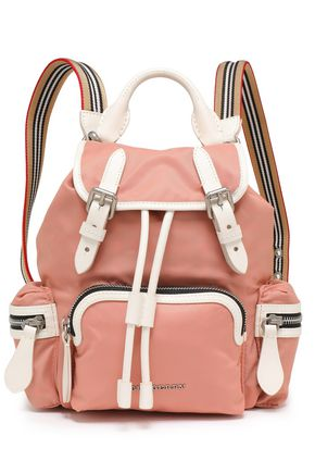 BURBERRY Leather-trimmed shell backpack