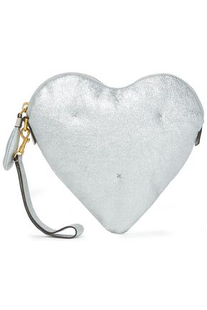 ANYA HINDMARCH Chubby Heart quilted metallic cracked-leather clutch