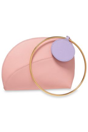ROKSANDA Ring-embellished two-tone textured-leather clutch
