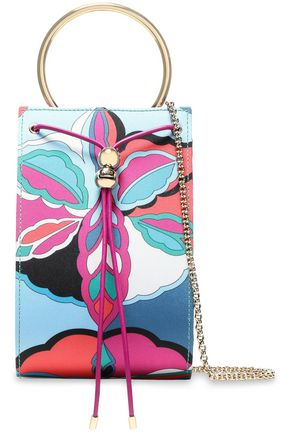 EMILIO PUCCI Leather-trimmed printed twill shoulder bag